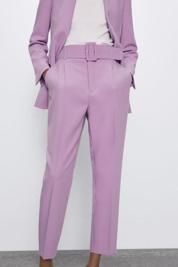 高腰皮带西装裤