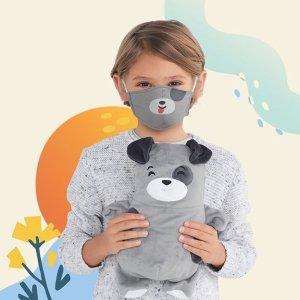 儿童3D卡通口罩2只$19.99多层3D布艺口罩 防飞沫夹层滤芯可替换 可重复使用