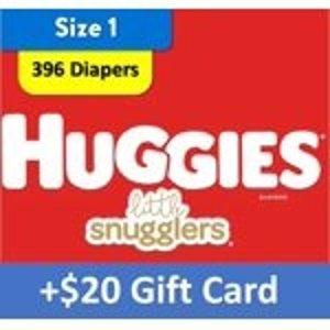 Huggies送$20礼卡纸尿裤超大2箱,以1号为例