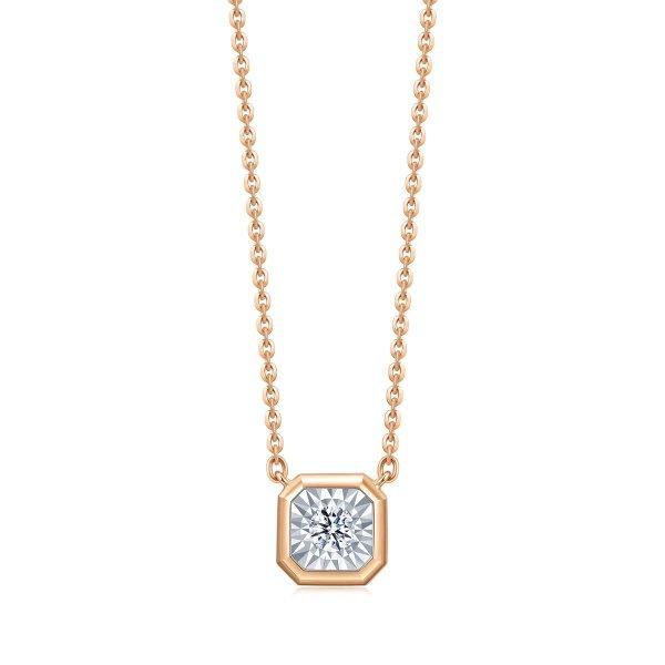 钻石玫瑰金项链