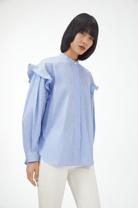 蓝色有机棉衬衫