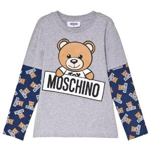 MoschinoGrey Bear Print Double Layer T-Shirt | AlexandAlexa