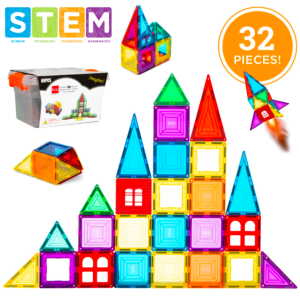 Last Day: 32-Piece Kids Mini Magnetic Tiles Educational STEM Toy Set w/ Carrying Case
