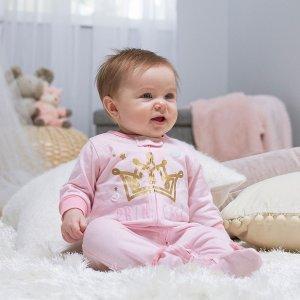 Gerber女婴包脚连体服2件套