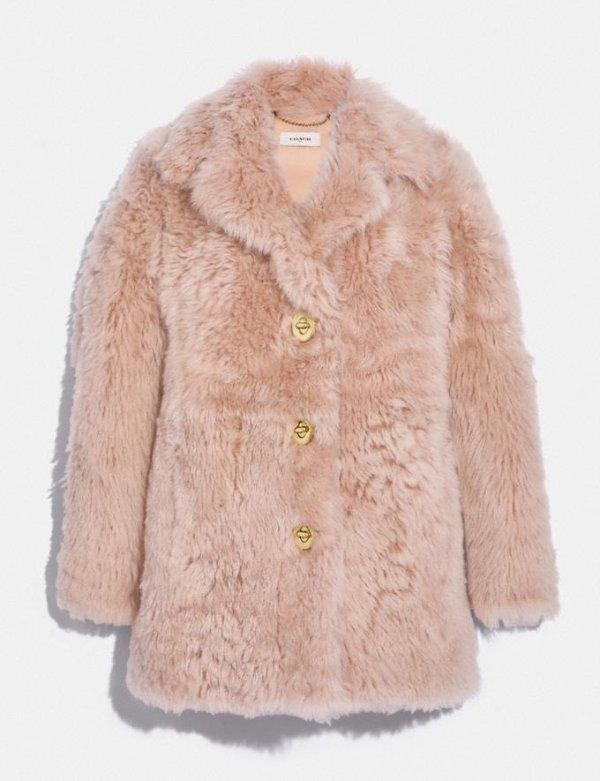 粉色皮草大衣