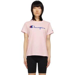 Champion粉色logoT恤