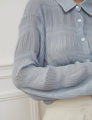 Pale Blue Ruched Shirt -Preorder
