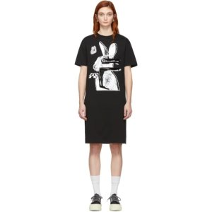 MCQ ALEXANDER MCQUEEN- SSENSE Exclusive Black & White Glitch Bunny Slouch T-Shirt Dress