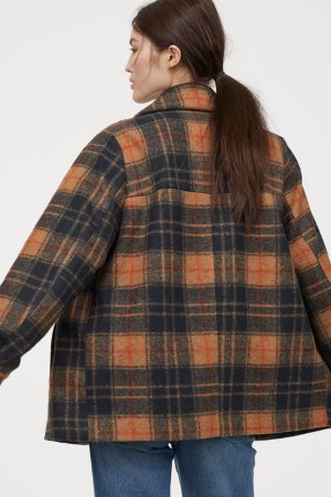 Shirt Jacket - Beige/plaid - Ladies | H&M US