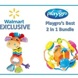 Playgro's 带颈圈长颈鹿+手摇铃铛球玩具2件套