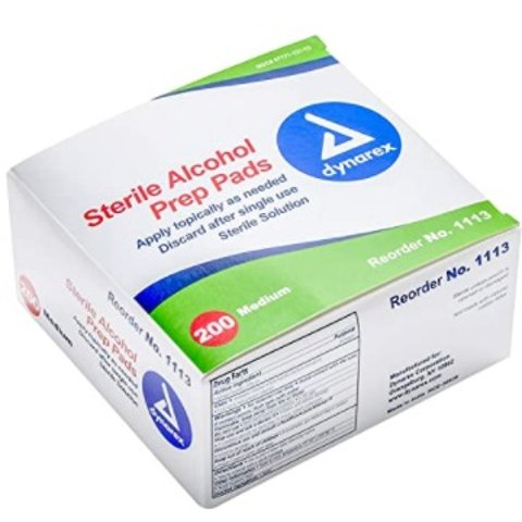 $6Dynarex Alcohol Prep Pad Sterile, Medium, 200 count
