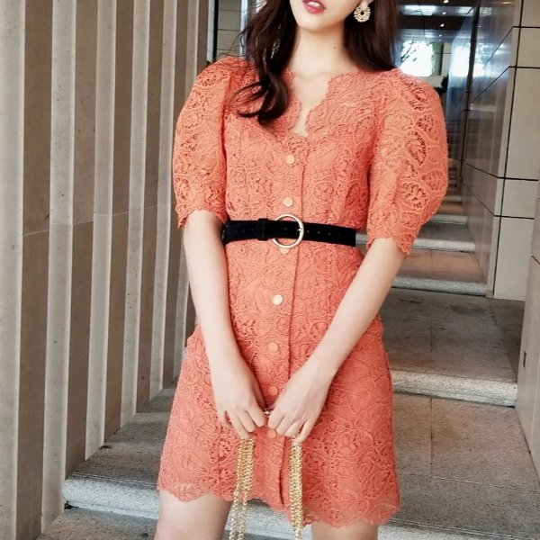 橘色蕾丝鱼骨裙