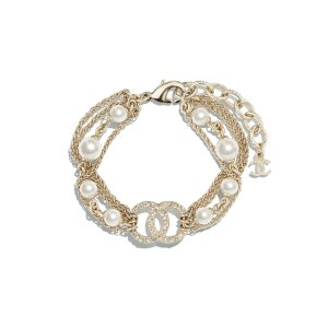 Metal, Glass Pearls & Strass Gold, Pearly White & Crystal Bracelet | CHANEL