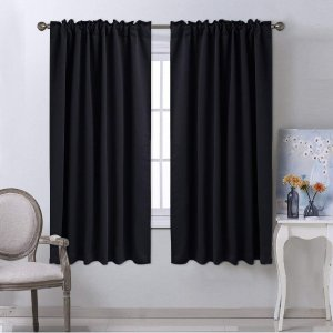 $14.97NICETOWN Blackout Curtain Blinds Window Panels - (Black Color) W52 x L63