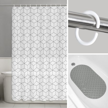Geo Aspect 14-Piece Bath Set: INCLUDES 1 PEVA Shower Curtain, 1 Tub Mat and 12 Shower Hooks