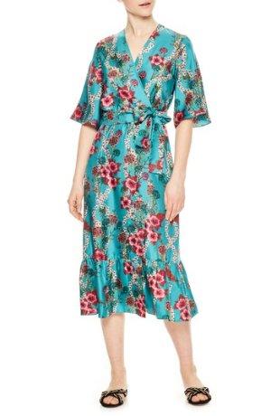 sandro Floral Silk Wrap Dress   Nordstrom