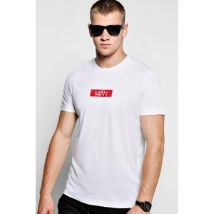MAN Red Box Logo Print T-Shirt - boohooMAN