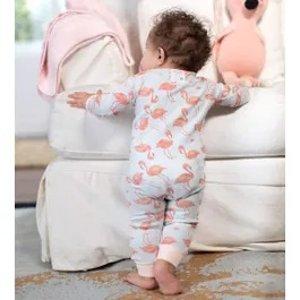 Burt's Bees BabyFancy Flamingo Organic Baby Zip Front Snug Fit Footless Pajama