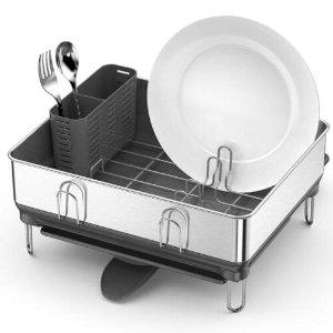 $48.68包邮(原价$66.99)simplehuman 不锈钢沥水架 配备抗残留托盘 提升厨房质感