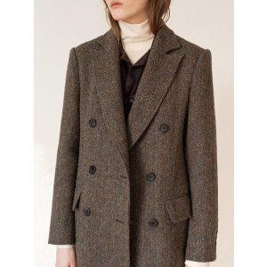 KINDERSALMONHarris Tweed Double Breasted Coat Brown