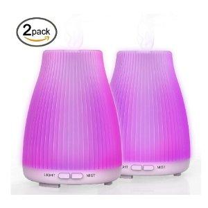 $19.19(原价$36.99)Neloodony 100毫升 LED 8彩香薰加湿器两个装