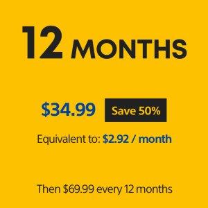 $34.99(原价$69.99)PlayStation Plus 12个月会员 好价速入
