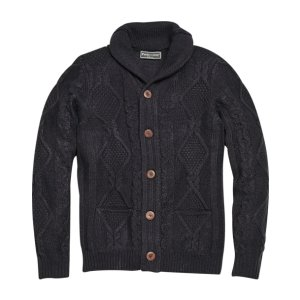 Paisley & Gray Slim Fit Cable Knit Cardigan, Blue - Men's Sweaters | Men's Wearhouse