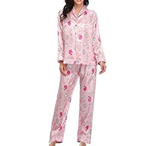 Womens Lightweight Satin Pajamas Set Sleepwear Silky Long Sleeve Button Down Rolled Collar Pjs