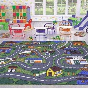$21.71(原价$25.49)Ottomanson 交通枢纽趣味游戏地垫,可搭配小汽车一起玩