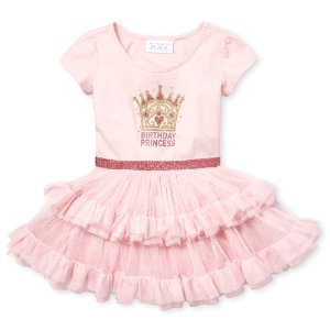 The Children's PlaceToddler Girls Short Sleeve Glitter 'Birthday Princess' Knit To Woven Tutu Dress
