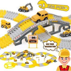 iHaHa 236PCS Construction Race Tracks for Kids