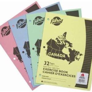 $1.86 收4本*32页Hilroy 3孔练习册4本  写字画画随便用 在家学习少不了