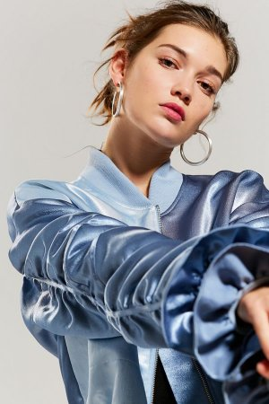 KYE Satin Ruffle Bomber Jacket | Urban Outfitters