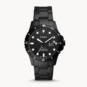 FossilFB-01 Three-Hand Date Black Stainless Steel Watch