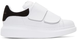Alexander McQueen: White Leather Velcro Sneakers | SSENSE