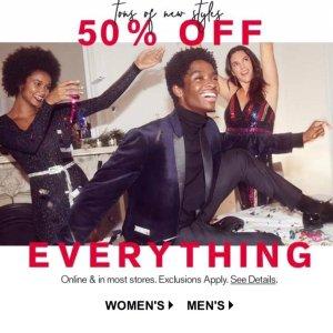 50% OffEverything