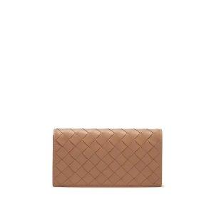 Bottega Veneta粉色编织纹钱包