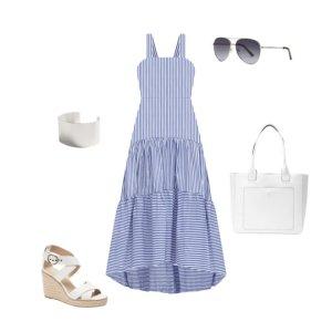 Poplin 条纹宽肩带连衣裙