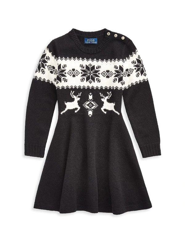 女童毛衣裙,尺码:6