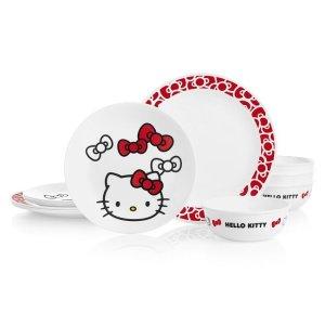 Corelle满$100享75折Hello Kitty 餐具12件套