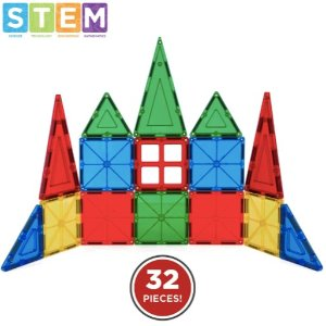 $18.89 + 包邮 经典的STEM玩具32件套磁力拼片玩具套装+收纳箱 3岁+儿童认知学习玩具