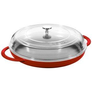 Staub 12寸蒸烤两用铸铁锅 带玻璃盖