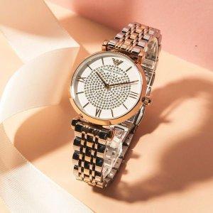 仅$226(原价$395)Emporio Armani 卖断款水晶玫瑰金双色女士腕表 变相5.7折