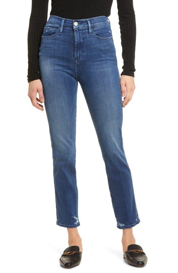Le Sylvie 高腰直筒牛仔裤