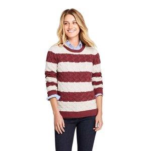Lands' EndWomen's Drifter Cotton Crew Neck Stripe Sweater