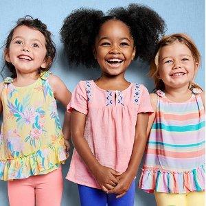 买1送2 仅$12-$14买3件上新:OshKosh BGosh 婴儿、儿童T恤、上衣、短裤、打底裤等优惠