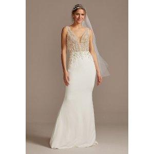 Davids BridalSheer Plunge Beaded Corset Crepe Wedding Dress