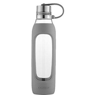 $7.97史低价:Contigo 高颜值 纯净玻璃时尚水瓶 灰色硅胶隔热套 600ml