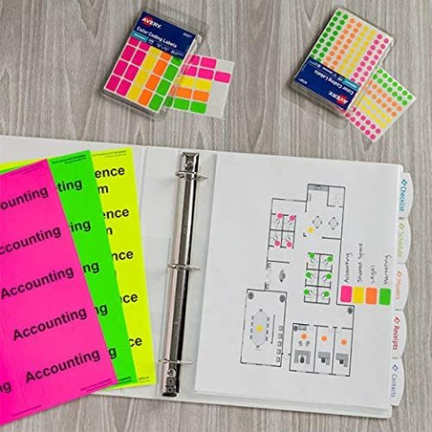 Avery Removable Color Coding Labels, Rectangular, Assorted Colors