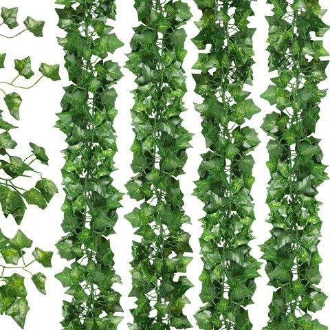 JPSOR 24pcs 158 Feet Fake Ivy Leaves Fake Vines Artificial Ivy Silk Ivy Garland